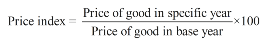 Price of good in specific year x100. Price index Price of good in base year