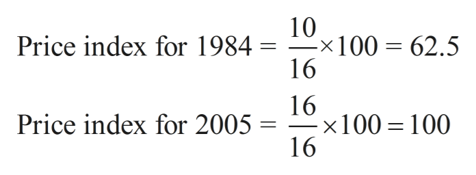 10 x100 62.5 16 Price index for 1984 = - 16 x100 100 16 Price index for 2005 =