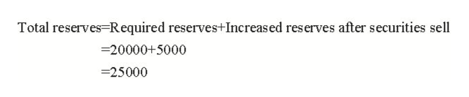 Total reserves Required reserves+Increased reserves after securities sell 20000+5000 -25000