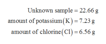 Unknown sample 22.66 g amount of potassium(K)= 7.23 g amount of chlorine (CI) 6.56 g