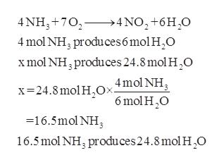 4 NH3 702>4NO2+6H20 4 mol NH, produces 6 mol H2O xmol NH, produces 24.8 mol H2O 4mol NH 6 mol H O x 24.8 mol HOx. -16.5mol NH 16.5mol NH3 produces24.8 mol H O