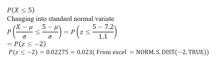 P(X 5) Changing into standard normal variate 5 H 5 7.2 Pz s P 1.1 P(z 2) P(z -2) 0.02275 z 0.023( From excel NORM. S. DIST(-2, TRUE))
