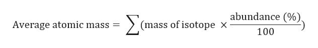 Σ abundance (%). (mass of isotope X Average atomic mass 11 100