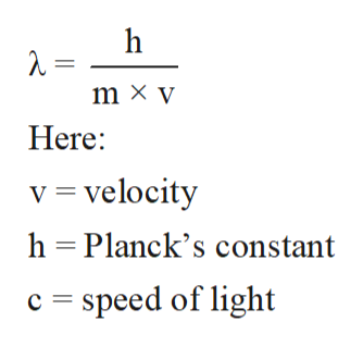 h m x y Here: v velocity h Planck's constant speed of light c