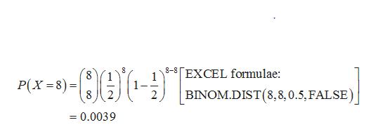 8-8 [EXCEL formulae: Р(х -8)-D BINOM.DIST(8,8,0.5, FALSE) 2 =0.0039