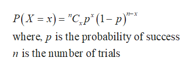 """Р(х - х) - """"С, р"""" (1-р)""""* where, p is the probability of success n is the number of trials"""
