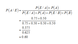P(ΕΙ Α)x P(A) P(ΕA)P(A-PE B) xP(Β) P(A E) 0.75x0.50 0.75x 0.500.50 x0.50 0.375 0.625 -0.60