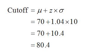 Cutoff uzxo = 70 +1.04x10 = 70 +10.4 = 80.4
