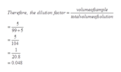 volumeofsample Therefore, the dilution factor = totalvolumeofsolution 5 99+5 5 104 1 20.8 =0.048