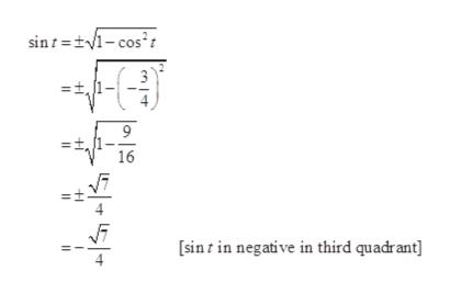 sint =t1-cos' 9 16 sint in negative in third quadrant] n