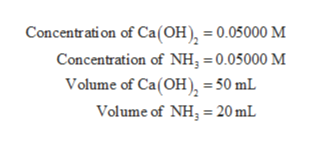 Concentration of Ca(OH) = 0.05000 M Concentration of NH, = 0.05000 M Volume of Ca(OH) = 50 mL Volume of NH, 20 mL