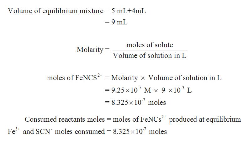 Volume of equilibrium mixture 5 mL+4mL =9 mL moles of solute Molarity= Volume of solution in L moles of FeNCS2 Molarity x Volume of solution in L 9.25 x 105 M x 9 x 103 L = 8.325x 107 moles Consumed reactants moles moles of FeNCs produced at equilibrium Fe and SCN moles consumed 8.325x 10 moles
