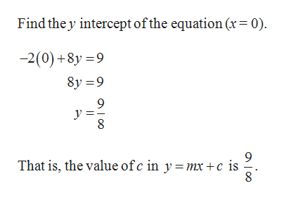 Find the y intercept ofthe equation (x= 0) -2(0)+8y 9 8y 9 9 9 That is, the value ofc in y =mx +c is