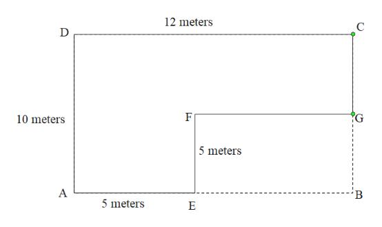 12 meters С G 10 meters 5 meters 5 meters Е