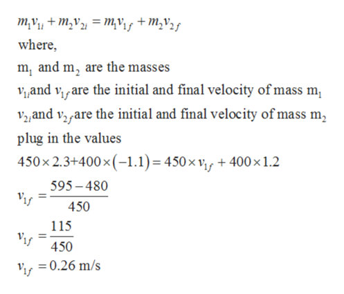 m,v+m2v = mvif +M,v2g where m, and m, are the masses Vand viare the initial and final velocity of mass m V2and vyare the initial and final velocity of mass m, plug in the values 450x 2.3+400x (-1.1)= 450 x vf +400x 1.2 595-480 450 115 450 =0.26 m/s