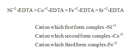 Ni2-EDTA>Co2-EDTA >Fe2-EDTA >Sr2-EDTA Cation which first form complex -Ni2 Cation which second form complex -Co2 Cation which third form complex-Fe2