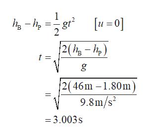 gt° 2(h-h) t = 2(46m -1.80m) 9.8m/s2 =3.003s
