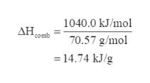 1040.0 kJ/mol AH comb 70.57 g/mol 14.74 kJ/g