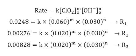 "Rate k[ClO2 [OH R1 0.0248 kx (0.060)m x (0.030)"" 0.00276 kx (0.020)"" x (0.030)"" R3 0.00828 kx (0.020)"" x (0.030)"""
