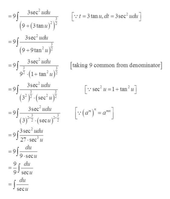 3sec udu 3 tan u,dt3sec' ucu (9+(3 tanu) 3sec2 udu (9+9tan u 3 sec udu taking 9 common from denominator] 93-(1+tan u) 3sec2 udu se'u =1+ tan'u] 9 (3-)5(sec'u 3sec udu 91 (3)(secu) 3 sec2 udu 27 sec u du 9-secu 9 secu du secu