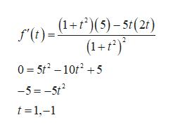 (1+(5)-5t(2t) f'() (1+f) 0 5t2-105 -5=-5t2 t 1,-