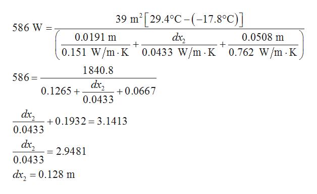 39 m2[29.4°C-(7.8°C)] 586 W 0.0191 m 0.0508 m 0.151 W/m K 0.0433 W/m K 0.762 W/m -K 1840.8 586 dx 0.1265 0.0667 0.0433 dx 0.1932 3.1413 0.0433 dx2 = 2.9481 0.0433 dx, = 0.128 m