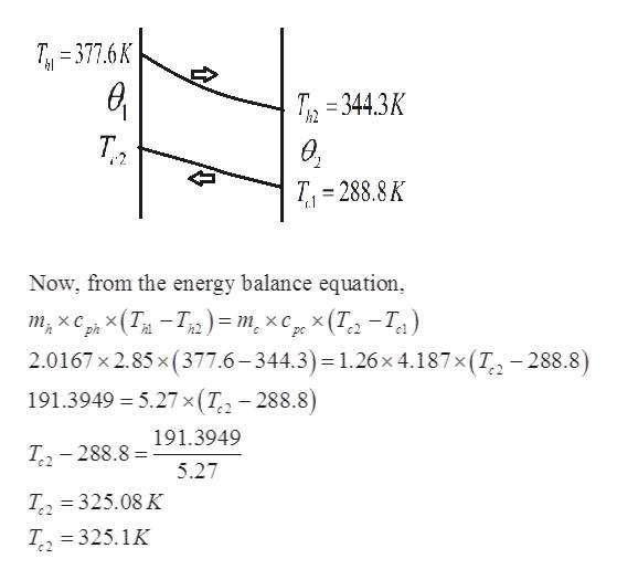 T377.6K T 344.3K h2 T T 288.8K .1 Now, from the energy balance equation х Сp, x (Tи — Тз) - т, хс х (Т. -Т.) 2.0167 x 2.85 x(377.6-344.3) = 1.26 x 4.187x(T, - 288.8) 191.3949 5.27 x ( T-288.8) 191.3949 T2-288.8 5.27 T2 325.08 K T2 325.1K