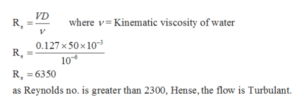 VD R where v Kinematic viscosity of water 0.127x50x10 10-5 R. 6350 as Reynolds no. is greater than 2300, Hense, the flow is Turbulant