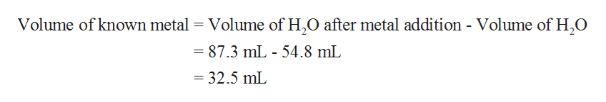 Volume of known metal Volume of H,0 after metal addition - Volume of H,O 87.3 mL 54.8 mL - 32.5 mL