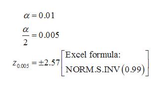 a 0.01 0.005 2 Excel formula Z00052NORM.S.INV(0.99)