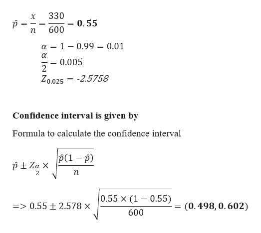 330 X 0.55 600 1 0.99 0.01 = а 0.005 2 Zo.025 -2.5758 Confidence interval is given by Formula to calculate the confidence interval (1 ) 2 п 0.55 x (1 0.55) => 0.55 2.578 x (0.498,0.602) 600 ఇి