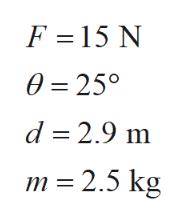 F 15 N 0 25° d 2.9 m m 2.5 kg