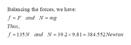 Balancing the forces, we have: f F and N = mg Thus f 135N and N = 39.2x 9.81 384.552Newton