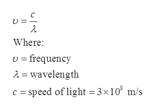 C Where vfrequency A = wavelength c speed of light 3x 108 m/s