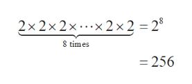 2x2x2x.x 2x2 = 28 8 times =256