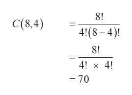 8! C(8,4) 41(8-4) 8! 4! x 4! = 70