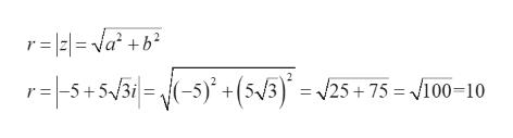 r=l2l= va? +b? 2 r-5+5/3i= -5) +(5/3) = 25+75 = /100=10