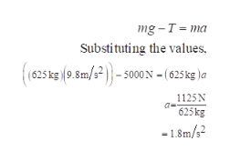 mg-T ma Substituting the values, (625 kg 9.8m/s2)-s000 N = ( 625 kg )a 1125N 625kg -1.8m/s2