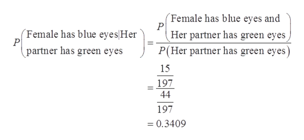 Female has blue eyes and P Her partner has green eyes Female has blue eyes Her P partner has green eyes P(Her partner has green eyes) 15 197 44 197 = 0.3409