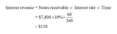 Interest revenue Notes receivable x Interest rate x Time 60 = $7,800 x 10%x- 360 = $130