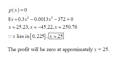 p(x)0 8x+0.3x-.0013x-372 0 x25.23, x45.22,x 250.76 lies in [0,225 25 The profit will be zero at approximately x 25