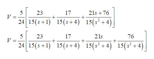 21s 76 17 23 5 V ) 15 (s + 1) 15(s4 15(s+4 76 21s 17 23 5 V 15(s24) 15(s+1) 15(s+4) 15(s2 +4) 15(s +