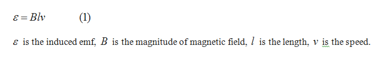 = Blv (1) e is the induced emf, B is the magnitude of magnetic field, / is the length, v is the speed. ww