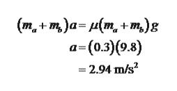 (m+m)a=(m+m)g a-(0.3)(0.8) =2.94 m/s2