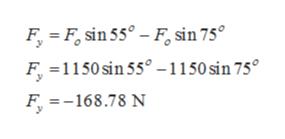 F F, sin 55-Fsin 75° F 1150sin 55 -1150 sin 75° F =168.78 N