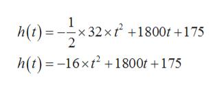 x 32 x h(t) 2 1800t +175 h(t)-16xt2 1800t +175