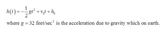 where g 32 feet/sec2 is the acceleration due to gravity which on earth