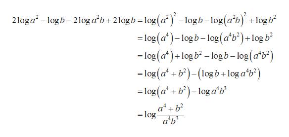 2loga-logb-2log ab+2log b-log (a) -logb-log(ab) + log b - log (a)-logb-log(a'b?)+log b -log (a)+log b-logb-log(atb2) =log (a +b2)(log b+ log a*b2) log(ab2)-log ab ab log a'b3