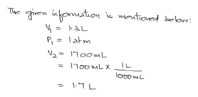 The given inomation meutiondbelow: 3L P = latm 21700ML ODMLX TL looowL 17L