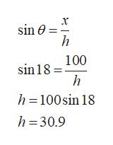 sin e h 100 sin18 h h=100sin 18 h 30.9